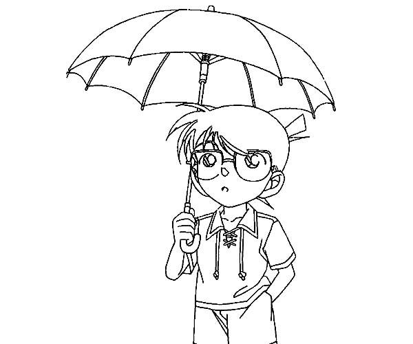 Detective Conan, : Detective Conan Use an Umbrella Coloring Page