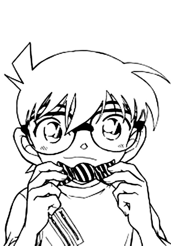 Detective Conan, : Detective Conan Using Voice Changer Bowtie from Professor Agasa Coloring Page