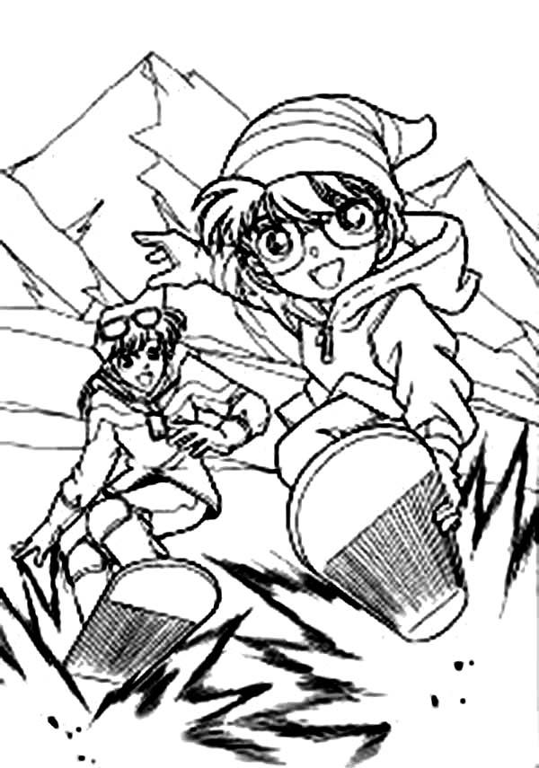 Detective Conan, : Detective Conan and Ran Snowboarding Coloring Page