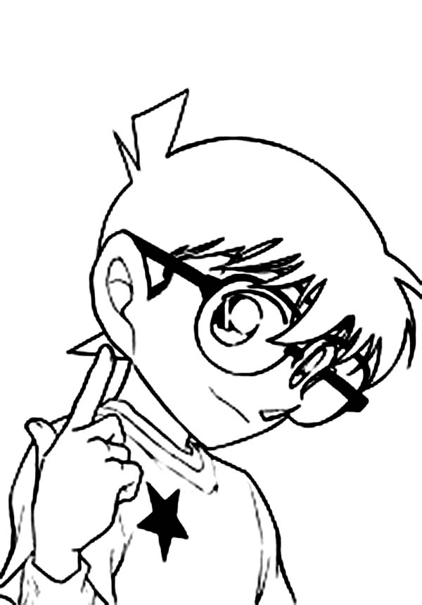 Detective Conan, : Detective Conan is Happy to Help You Coloring Page