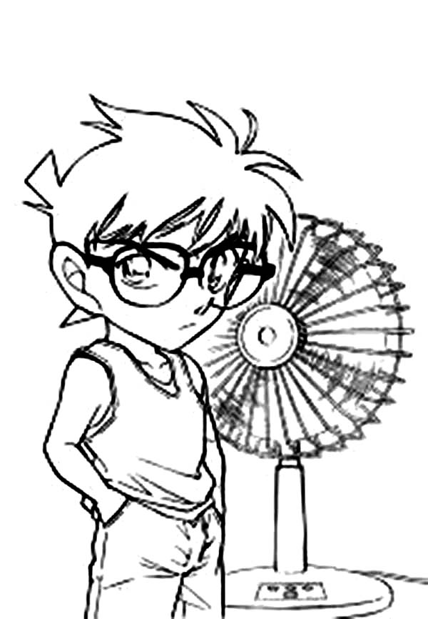 Detective Conan, : Detective Conan with a Fan Coloring Page