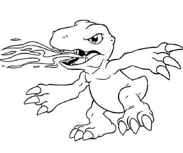 Digimon, : Digimon Agumon Awesome Fire Breath Coloring Page