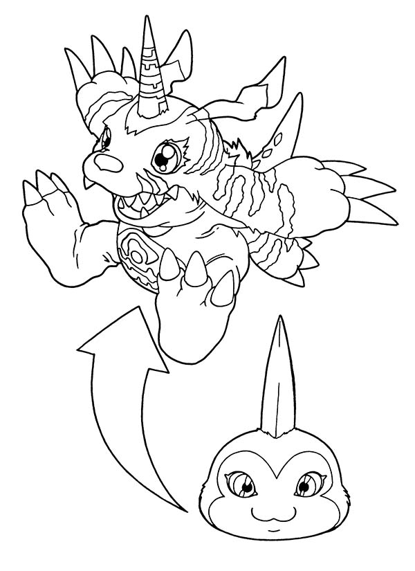 Digimon, : Digimon Gabumon Digivolution Coloring Page