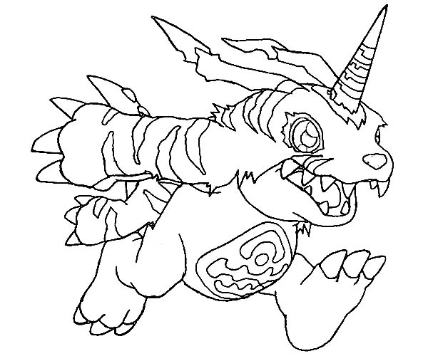 Digimon, : Digimon Gabumon in Action Coloring Page