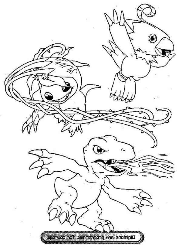 Digimon, : Digimon in Digivolution Coloring Page