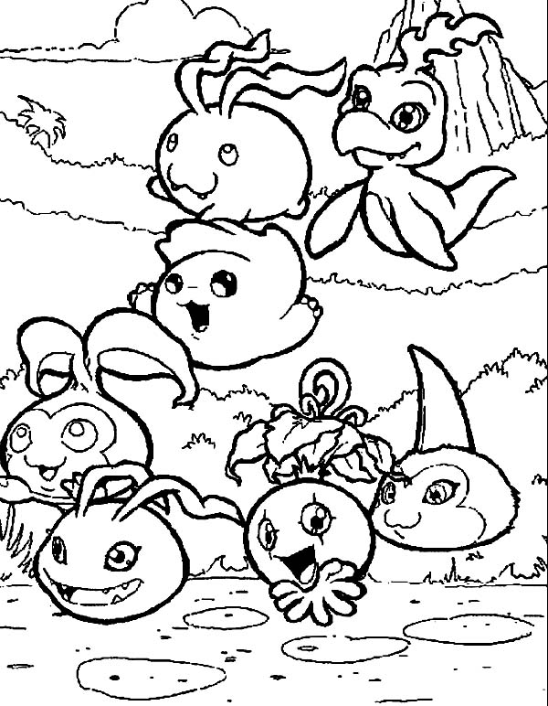 Digimon, : Digimon is Digital Monster in Digital World Coloring Page
