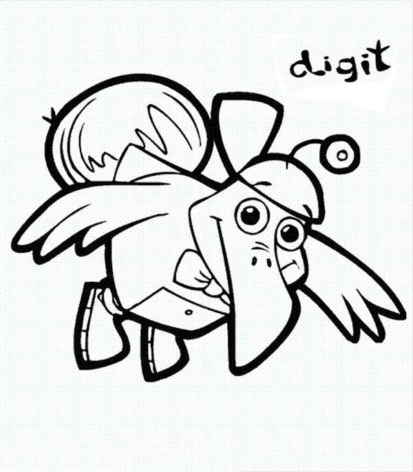 Cyberchase, : Digit Flying Robot in Cyberchase Coloring Page