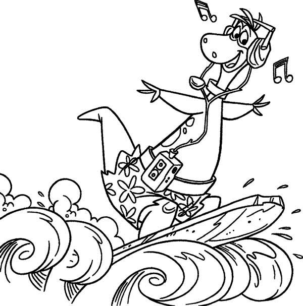The Flintstones, : Dino Flintstone Surf the Wave in the Flintstones Coloring Page