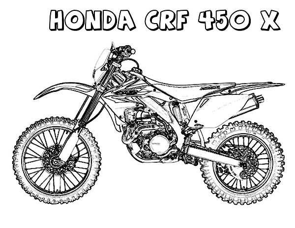 Dirt Bike, : Dirt Bike Honda CRF450X Coloring Page