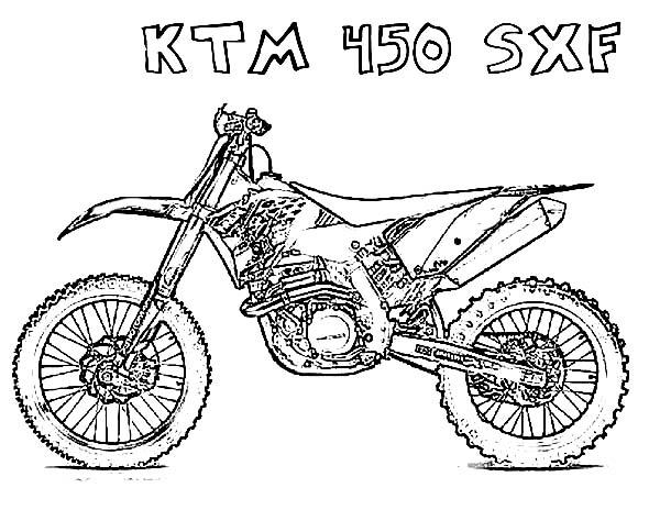 Dirt Bike, : Dirt Bike KTM 450 SFX Coloring Page