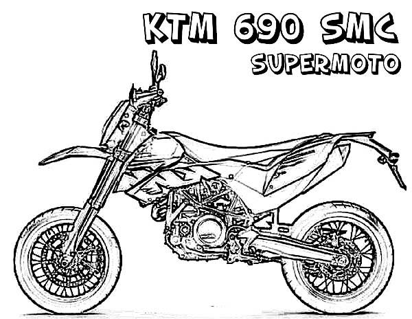 Dirt Bike, : Dirt Bike KTM 690 SMC Supermoto Coloring Page