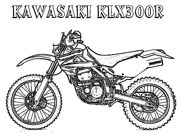 Dirt Bike, : Dirt Bike Kawasaki KLX300R Coloring Page