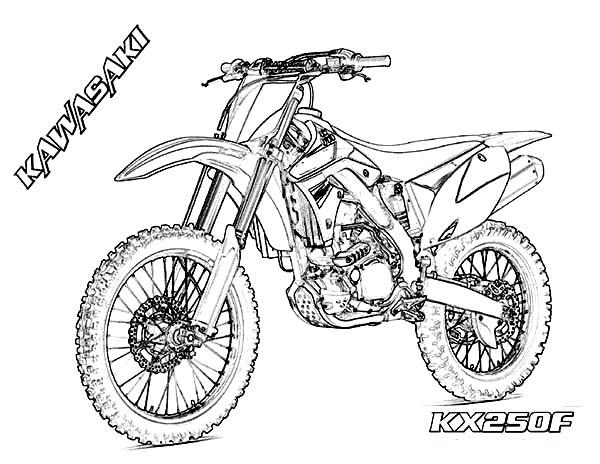 Dirt Bike, : Dirt Bike Kawasaki KX250F Coloring Page