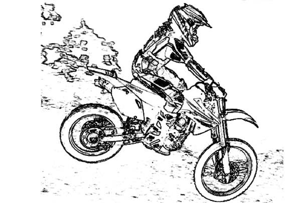 Dirt Bike, : Dirt Bike Motocross Skecth Coloring Page