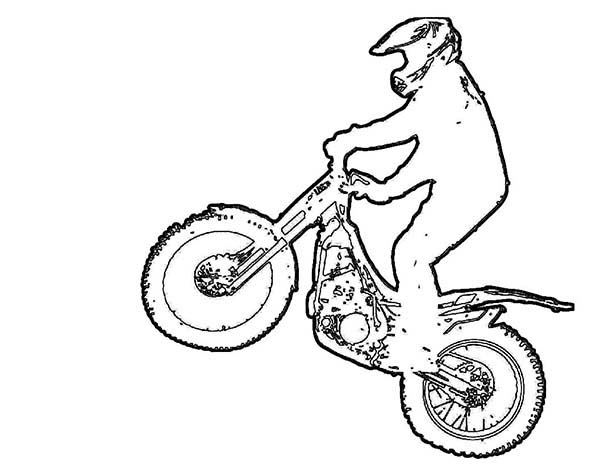 Dirt Bike, : Dirt Bike Outline Coloring Page