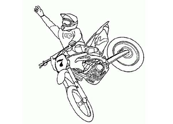 Dirt Bike, : Dirt Bike Rider Jump High Coloring Page
