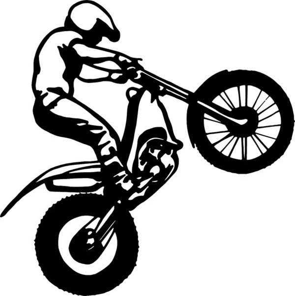 Dirt Bike, : Dirt Bike Rider Popping a Wheelie Coloring Page