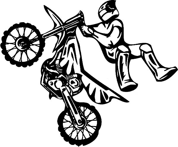 Dirt Bike, : Dirt Bike Rider on Attraction Coloring Page