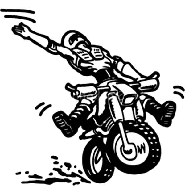 Dirt Bike, : Dirt Bike Rodeo Coloring Page