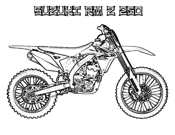 Dirt Bike, : Dirt Bike Suzuki RM Z 250 Coloring Page