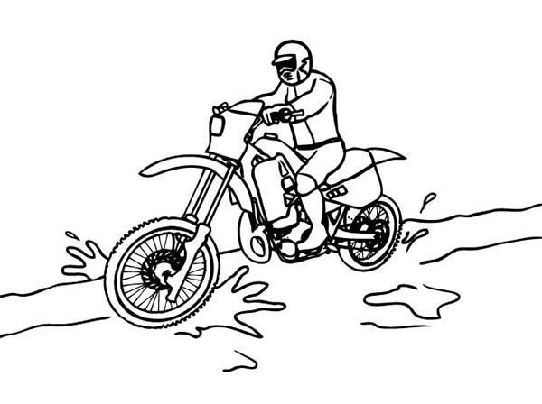 Dirt Bike Through Dirt Road Coloring Page Coloring Sun
