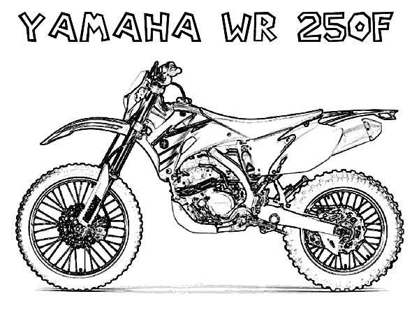 Dirt Bike, : Dirt Bike Yamaha WR 250F Coloring Page