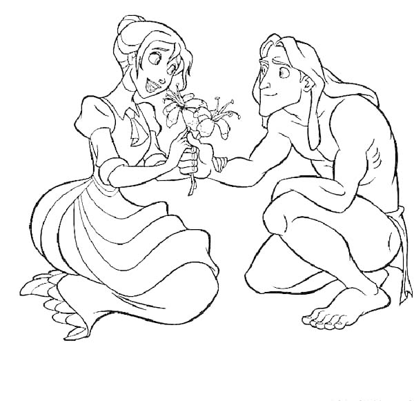 Tarzan, : Disney Tarzan Give Jane a Beautiful Flower Coloring Page