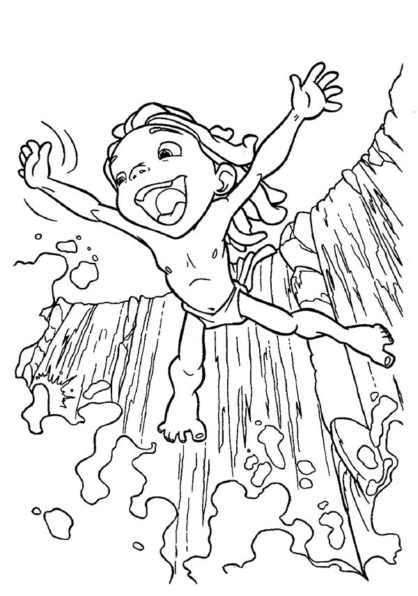 Tarzan, : Disney Tarzan Jump from Cliff Coloring Page