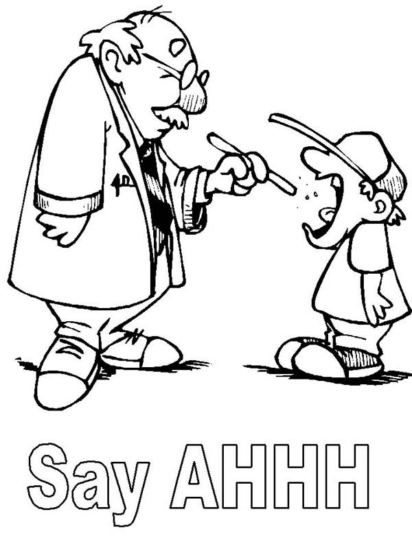 Doctor, : Doctor Checking on Patient Mouth Health Coloring Page