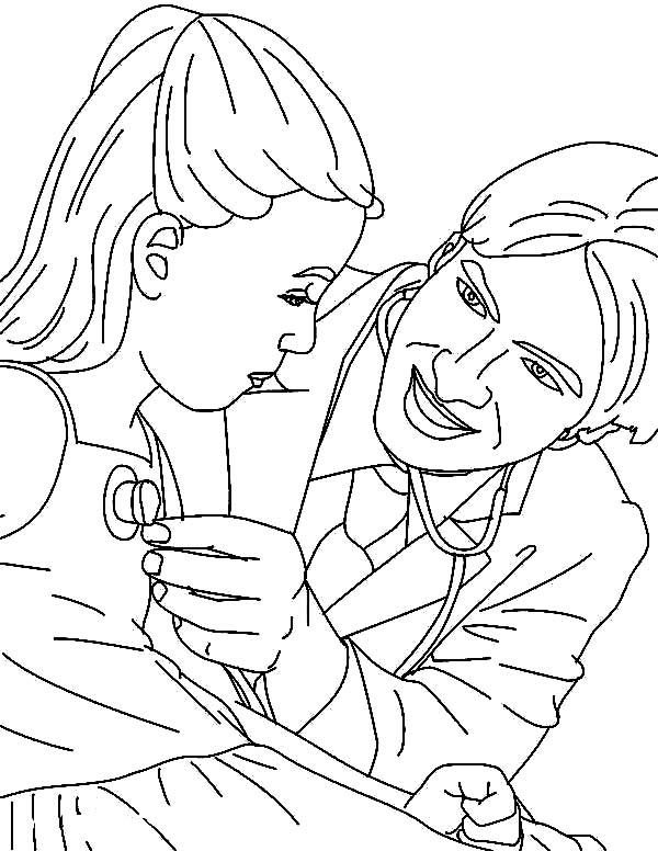 Doctor, : Doctor Doing Check Up with Stethoscope Coloring Page