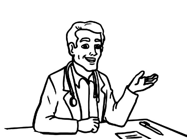 Doctor, : Doctor Explain Why Patient is Sick Coloring Page