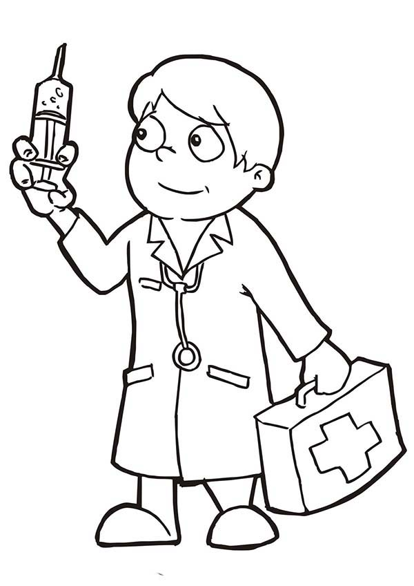 Doctor Holding Epydermic Needle Coloring Page: Doctor ...