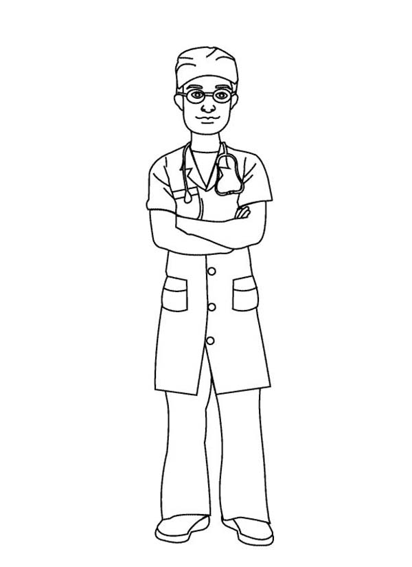 Doctor, : Doctor Wearing Operating Suit Coloring Page