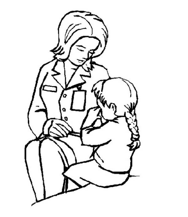 Doctor, : Doctor and a Crying Child Coloring Page