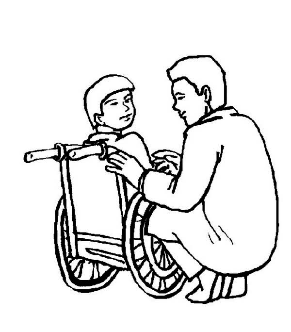 Doctor, : Doctor and a Little Boy on Wheelchair Coloring Page
