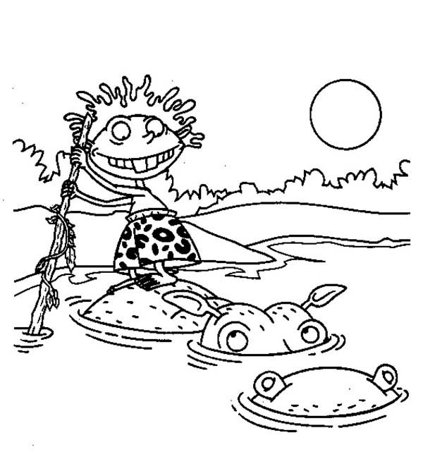 Thornberrys, : Donald Standing on Hippos Back in the Thornberrys Coloring Page