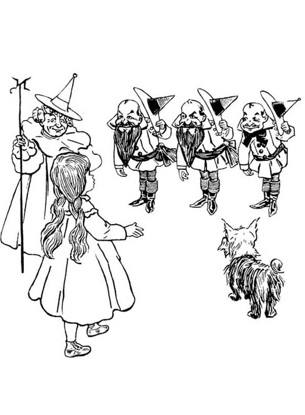 The Wizard of Oz, : Dorothy Meet Good Witch of the North and The Munchkins in the Wizard of Oz Coloring Page