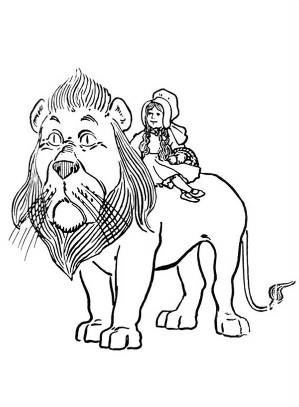 The Wizard of Oz, : Dorothy Ride the Cowardly Lion in the Wizard of Oz Coloring Page