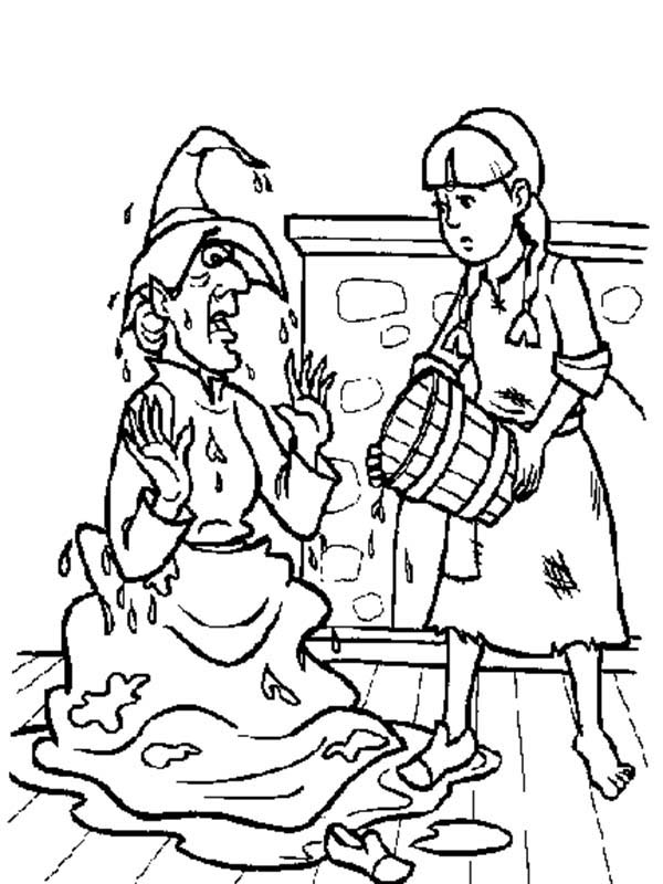 The Wizard of Oz, : Dorothy Splashing Water to Wicked Witch of the West in the Wizard of Oz Coloring Page