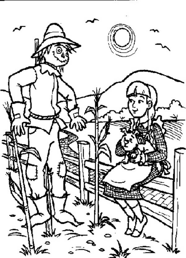 The Wizard of Oz, : Dorothy Talking to Scarecrow in the Wizard of Oz Coloring Page