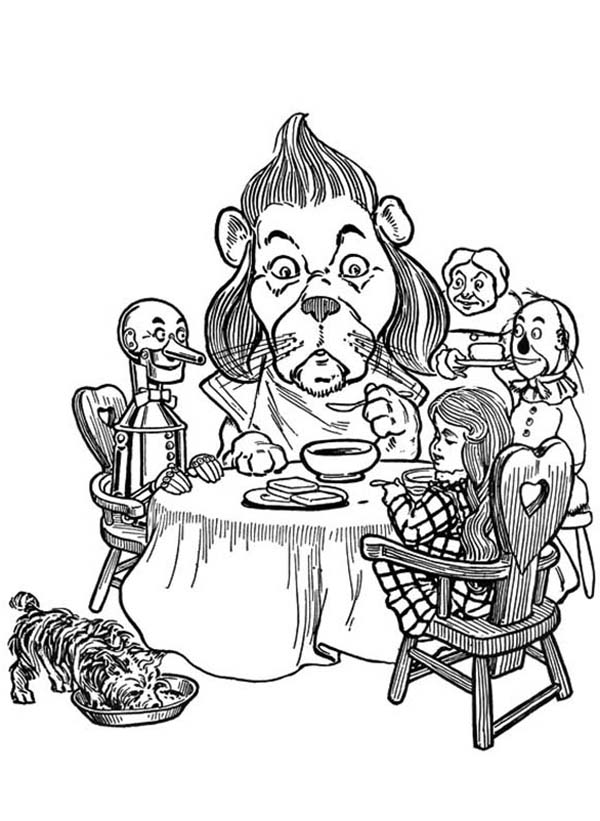 The Wizard of Oz, : Dorothy and Friends are Having Dinner Together in the Wizard of Oz Coloring Page