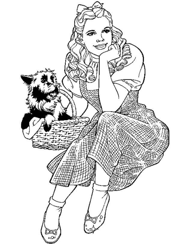 The Wizard of Oz, : Dorothy and Her Pet Toto in the Wizard of Oz Coloring Page