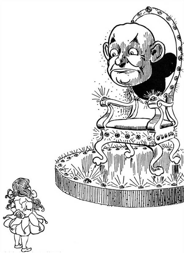The Wizard of Oz, : Dorothy and Wizard of Oz Head in the Wizard of Oz Coloring Page