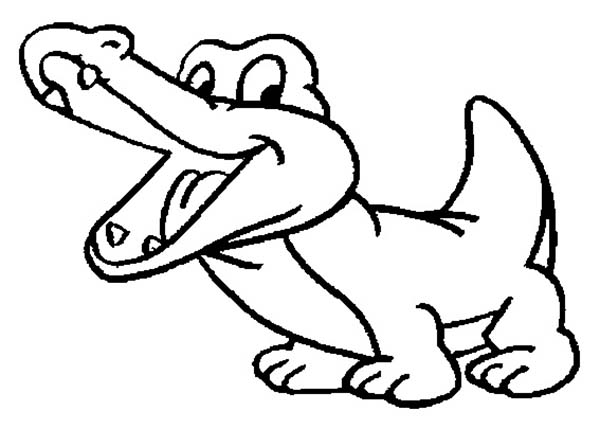 Crocodile, : Drawing Baby Crocodile Coloring Page