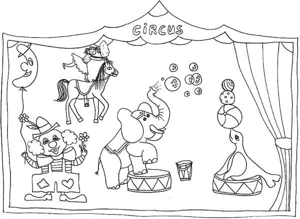 Circus, : Drawing Circus Shows Coloring Page