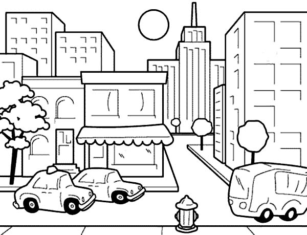 City, : Drawing City Scenes Coloring Page for Kids
