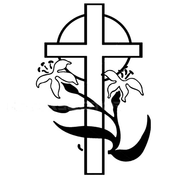 Cross, : Drawing Flower with Cross Coloring Page