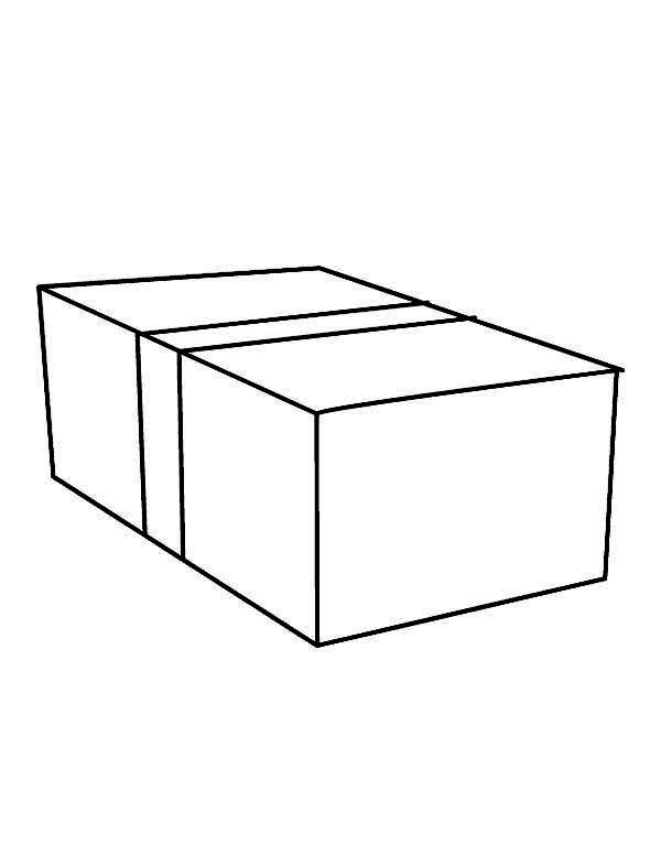 Box, : Drawing a Box Coloring Page