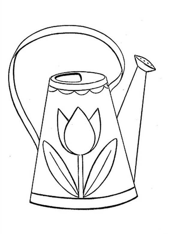 Watering Can, : Drawing of Watering Can Coloring Page