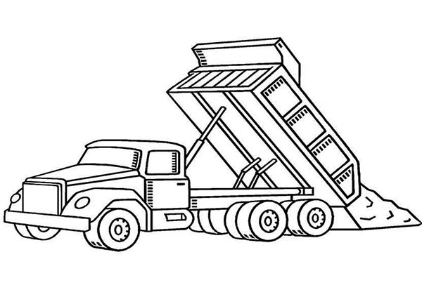 Construction, : Dump Truck on Construction Work Coloring Page